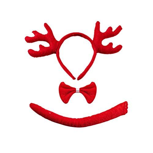 Schwanz Kostüm Deer - TOYANDONA Hirschgeweih Stirnband Fliege Schwanz Set für Cosplay Kostüme Party Dekoration (rot)
