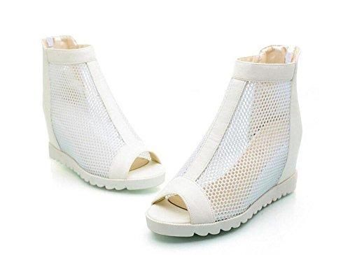 SHIXR Frauen Pumps Mesh High-Heels Sandalen Western Heel Peep Toe Römische Schuhe Side Reißverschluss Plattform Schuhe Schwarz Weiß White