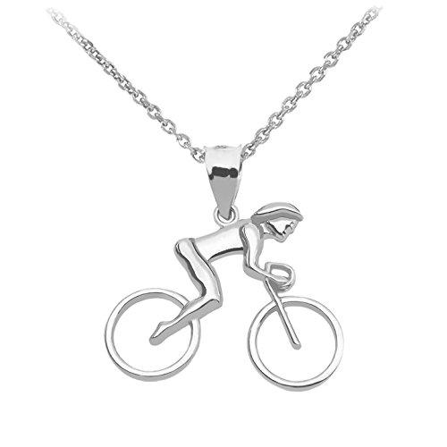 925 Sterling Silber Frauen Fahrrad Damen Anhänger Halskette (Kommt mit eine 45 cm kette)