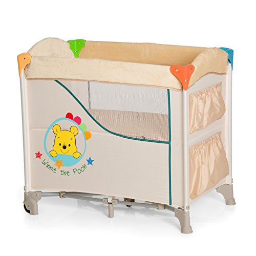 Hauck / Disney Sleep N Care Beistellbett / Stubenwagen / Reisebett / inklusive Matratze, Rollen, Utensilien-Taschen und Tragetasche / faltbar, klappbar und tragbar, Pooh Redy to Play (Beige)