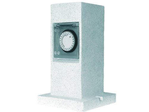 Preisvergleich Produktbild Gartensteckdose in Steinsäulenoptik mit Zeitschaltuhr, 2-Fach