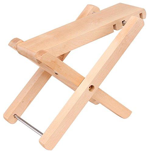 Classic Cantabile FS-2 Fußbank Holz (4-fach höhenverstellbar, zusammenklappbar, 12-24,5 cm Höhe) natur - Strumpf Gitarre