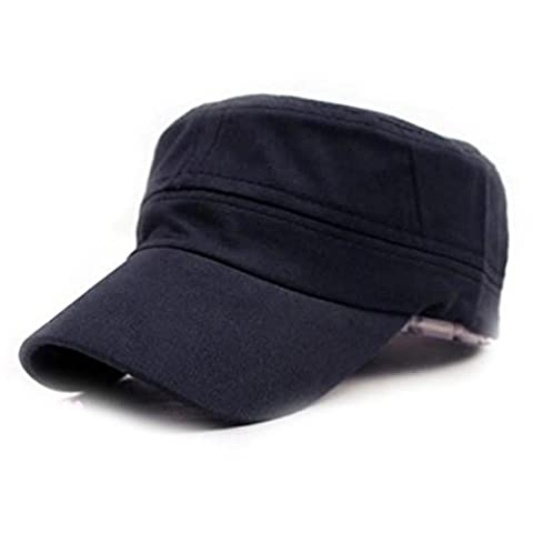 Bluester Classic Plain Vintage Army Military Cadet Style Cotton Cap Hat Adjustable (navy)