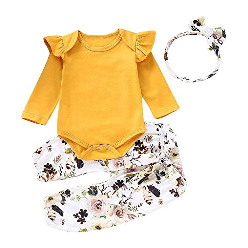 aed22d91 REALIKE Kinder Baby Mädchen 1 PC Jumpsuit + 1 PC Hosen + 1 PC Headbands Mode