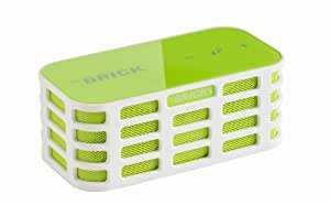 The BRICK - Ultra Portable Mini Wireless Bluetooth Stereo Speakers for All Devices with Bluetooth Capability - 10 hours Playtime (rechargeable battery) / with Built-in Mic for use as a Powerful Handsfree Speakerphone (Green)
