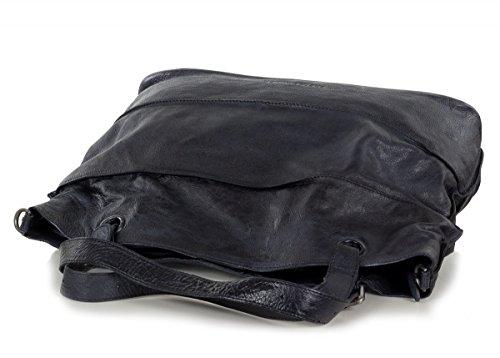 FredsBruder Waxed Leather Shopzilla CW Sac fourre-tout Shopper cuir 50 cm Bleu marine