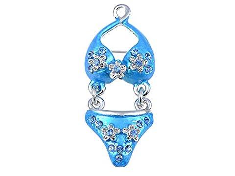 Fabriqué avec des éléments de cristal Swarovski Bleu Itsy Bitsy Bikini Summertime Broche en forme de fleur