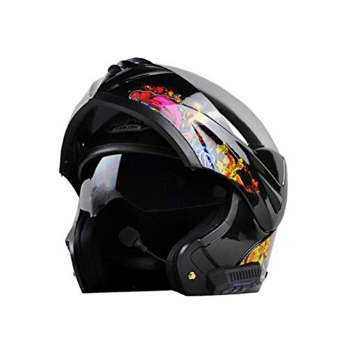 Adult Bluetooth Motorbike Helmet Carbon Fiber Double