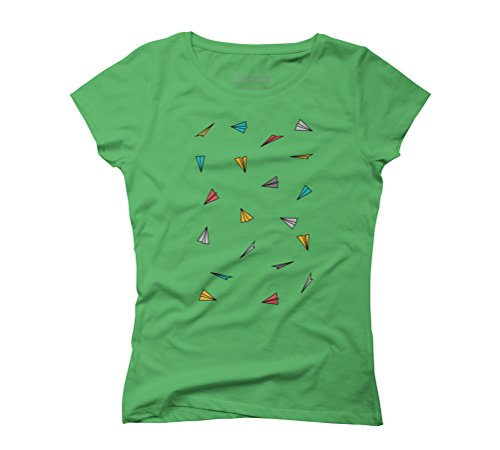Colored paper planes Women's Graphic T-Shirt - Design By Humans Green