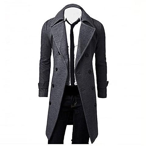 Tonsee Hommes hiver Slim élégant Trench Coat Double Breasted longue veste Parka (L, Gris)