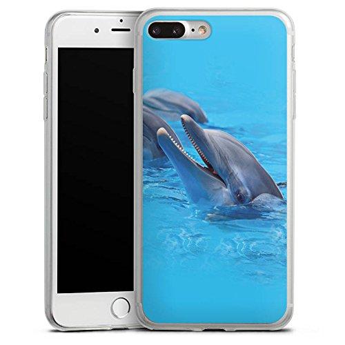 Apple iPhone 8 Plus Slim Case Silikon Hülle Schutzhülle Delfin Delphine Delfine Silikon Slim Case transparent