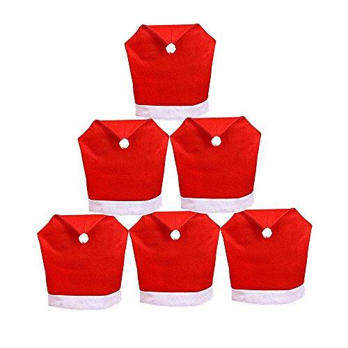 DoTech 6 Pcs Weihnachtsmann Rot Hut Stuhl Rückseite Weihnachten Stuhlhussen Set für Weihnachten Dinner Party Dekor Weihnachtsmütze Stuhlüberzug (Weihnachts-dinner-set)