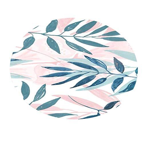 Bodenmatte Round Serria® Tropische Pflanzenblätter Muster Drucken rutschfest langlebig Umweltfreundlich Teppich für Schlafzimmer, Wohnzimmer und Badezimmer Küche Durchmesser:60 cm D (Herren-badezimmer Teppich)