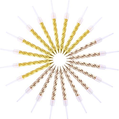 (20 Stück Metallisch Geburtstag Kerzen Kuchen Kerzen mit Halter für Hochzeitstage Kerzen Cupcake Kerzen Geburtstag Party Gold Taper Kerzen (Gold and Champagne Gold))