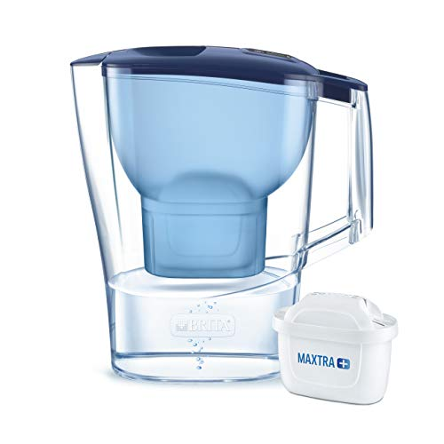 BRITA Aluna - Jarra de Agua Filtrada con 1 cartucho MAXTRA+ - Filtro de agua BRITA de color azul que reduce la cal y el cloro - Agua filtrada para un sabor excelente