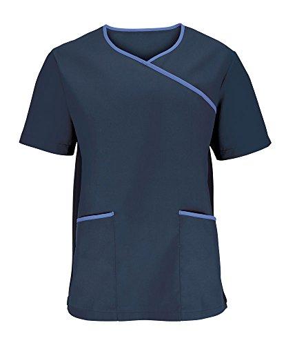 Alexandra stc-nm43oh-xxl Herren Stretch Scrub Top, Uni, 67% Polyester/33% Baumwolle, Größe: 2X Große, Marineblau/Metro Blau (Top Scrubs 2 X)