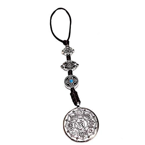 P Prettyia Buddhismus Acht Trigramm Spiegel Amulett Anhänger Schöner Auto Anhänger Deko aus Kupfer, Doppelseitig -