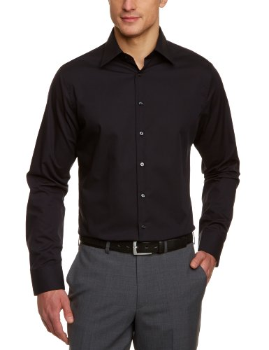 Seidensticker Herren Business Hemd Tailored Fit, Schwarz (Schwarz 84), 38 -