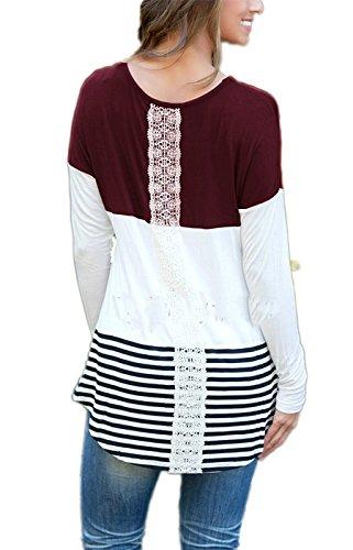 Minetom Damen Streifen Spitze Langarmshirt Sweatshirt Blusen Lang Sleeve Herbst Rundhals Tops T-Shirt Violett