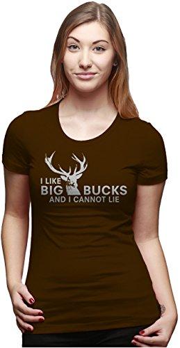 Crazy Dog Tshirts - Womens I Like Big Bucks and I Cannot Lie Funny Deer Hunting T Shirts for Ladies (Brown) - XXL - Damen - XXL -