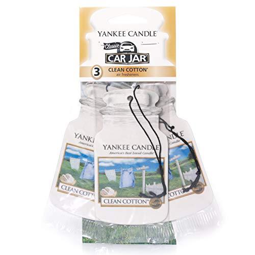 Yankee Candle 1114305E Deodoranti per Auto, Car Vaso Bonus Pacchetto di 3, Clean Cotto