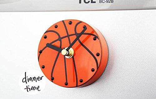 Wanduhr 3D Kreative Sport-Basketball-Kühlschrank Bell Magnetische Wanduhr Stummschaltung (Direktsaugung auf der - Sport-kühlschrank