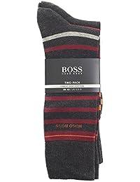 Boss Twin Pack Stripe & Plain Homme Chaussettes Gris