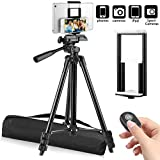 """PEMOTech 50"""" Tripod [Thicker Legs] for Tablet Phone Camera+Phone and Tablet Holder +Remote Control+Bag Compatible for iPad 9.7""""/Air/Mini Samsung Tab/S9/Note 9 iPhone XR/XS MAX/X/8/7/6/Plus (4""""-10.5"""")"""