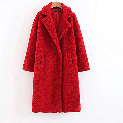 JYJM Damen Wollmantel Winter Lang Frauen Strickjacket Trenchcoat Revers Jacken Wolljacke Freizeit Wintermantel Coat Elegant Winterjacke warme Dicke Mantel Reine Farben Lamm Kaschmir Outwear -