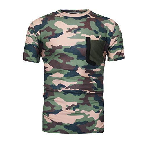 Likecrazy T-Shirts Herren Tee Sommer Beiläufige Kurzarmshirts Tarnungs Druck Elastischen Tops Männer O-Ausschnitt Bluse Sommertops Slim Fit Oberteil Shirt