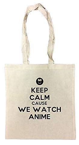 Keep Calm Cause We Watch Anime Einkaufstasche Wiederverwendbar Strand Baumwoll