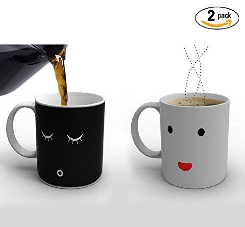 Ducomi® tazza magica termosensibile in ceramica - idea regalo di natale per uomo e donna (2 tazze)