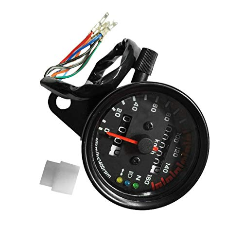 ForceSthrength Motorcycle Speedometer Odometer Gauge Dual Speed Meter with LCD Indicator -