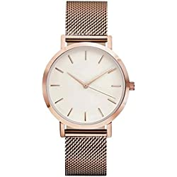 Tonsee Classic Women's Men's Wrist Watch Stainless Steel Strap Quartz Business Watches, Rose Gold