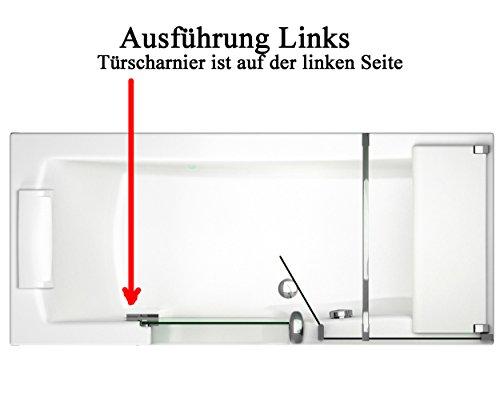 Badewanne mit Tür, Seniorenbadewanne 170x75x57,5cm mit Duschkabine,Wannenschürze und Ablauf/Sifon, Ausführung LINKS