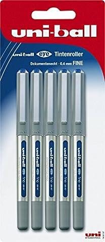 Mitsubishi 148197 - Tintenroller uni-ball eye UB-157, Stärke: 0,4 mm, 5er Packung, blau