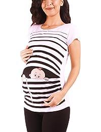 M.M.C. Fuga de bebé - Moda premamá Divertida y Dulce - Camiseta premamá Sudadera con Estampado Durante el Embarazo - Camiseta premamá, Manga Corta