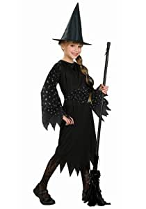 Halloween Concepts Child's Witch Costume with Flocked Velvet Spider Web Fabric, Small