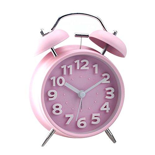 Despertador Alarm Clock Alaema Reloj Metal Cuarzo Análogico Doble Timbres Sonar Cabezada Timekeeper Espejo de Alta Definición Reloj de Escritorio Estilo Retro Rosa-Samtlan