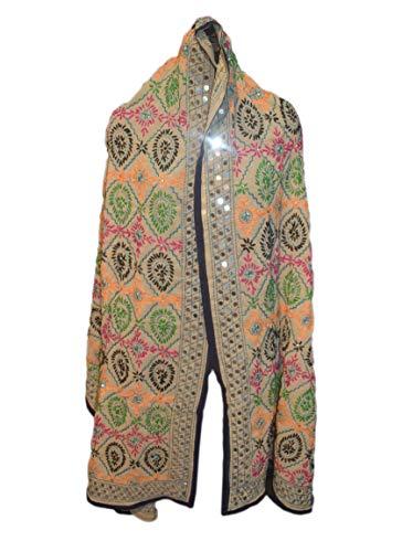 Tribal Asian Textiles Vintage Dupatta Handbestickte lange Stola Georgette Eiche Phulkari - Wunderschöne Georgette