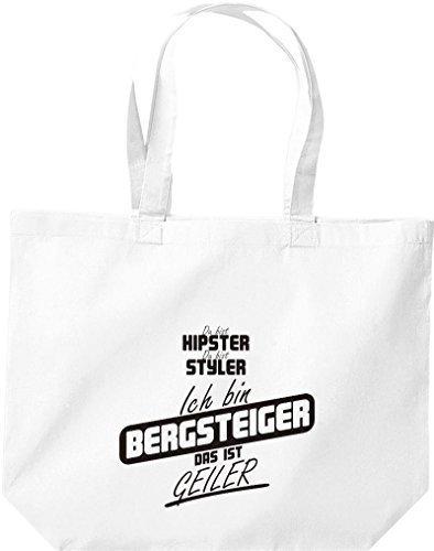 shirtstown grande borsa della spesa, SHOPPER Du Bist HIPSTER Du Bist Styler SONO ALPINISTA Das Ist Geiler Bianco