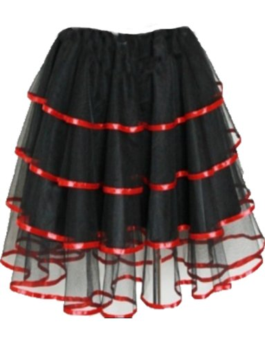 Yummy Bee - Sexy Schwarzen Rock Damen Burleske Tutu Plus Größe 34 - 52 Lila Rot (Rot, 40-42) (Mardi Gra Kostüme Plus Größe)