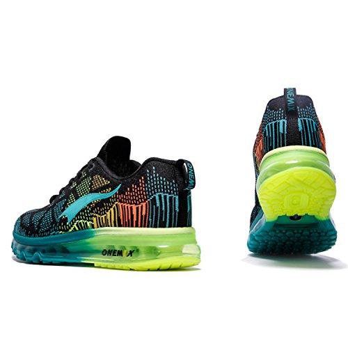 Onemix Hommes Mode Bulle D'air Sport En Marchant Chaussures Poids Léger Formateurs Chaussures de Course Black Blue Lake