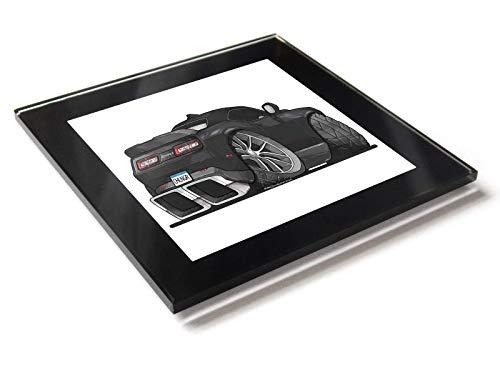 Koolart Cartoon Auto Dodge Challenger Glas Tisch Untersetzer mit Geschenk-Box, Schwarz, 10cm x 10cm