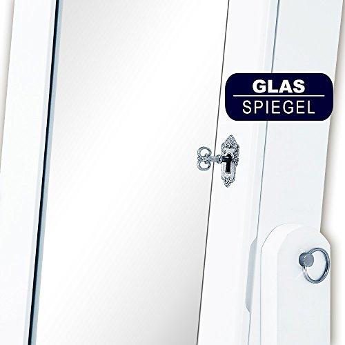 Spiegelschrank weiß + Türgelenk + Schubfächer + schwenkbar - Schmuckschrank Schrankspiegel Standspiegel abschließbar - 6