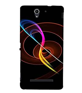 PrintVisa Colorful Fire Design 3D Hard Polycarbonate Designer Back Case Cover for Sony Xperia C3 Dual