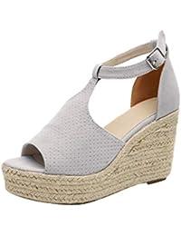 5322d2bf8c892 Manadlian Femme Chaussures Compensées Léopard Sandales à Talon Compensé  Tongs Escarpins Talons Hauts Bout Ouvert Plate
