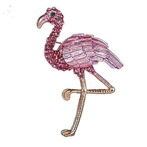 Dyad Jewellery Brosche Flamingo-Stil mit Strasssteinen besetzt und Tonal bemalt, gerillte Federn in Einem gepufften Candy Pink und Einem funkelnden schwarzen Kristall-Auge