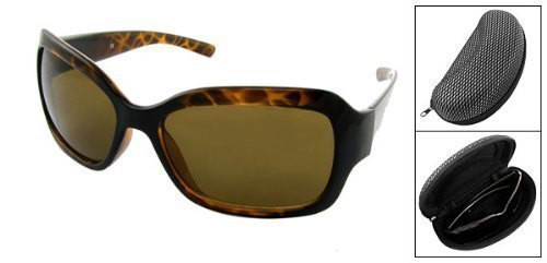 sourcingmap® Full Rim-Occhiali da sole con tartaruga in ambra, con custodia - Tortoise Plastica Occhiali