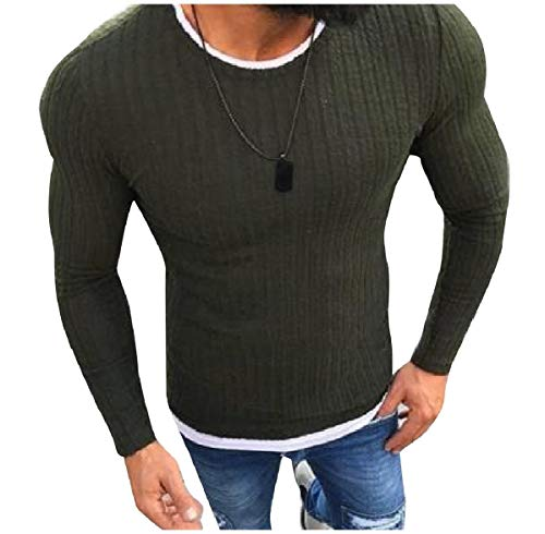 CuteRose Mens Pure Color French Rib Round Neck Slim Tailoring Sweatshirt Green XS (Green Wool Crewneck Pullover)